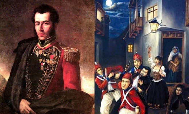 Left: Antonio Jose de Sucre; Right: Arrest of Jaime de Zudañez